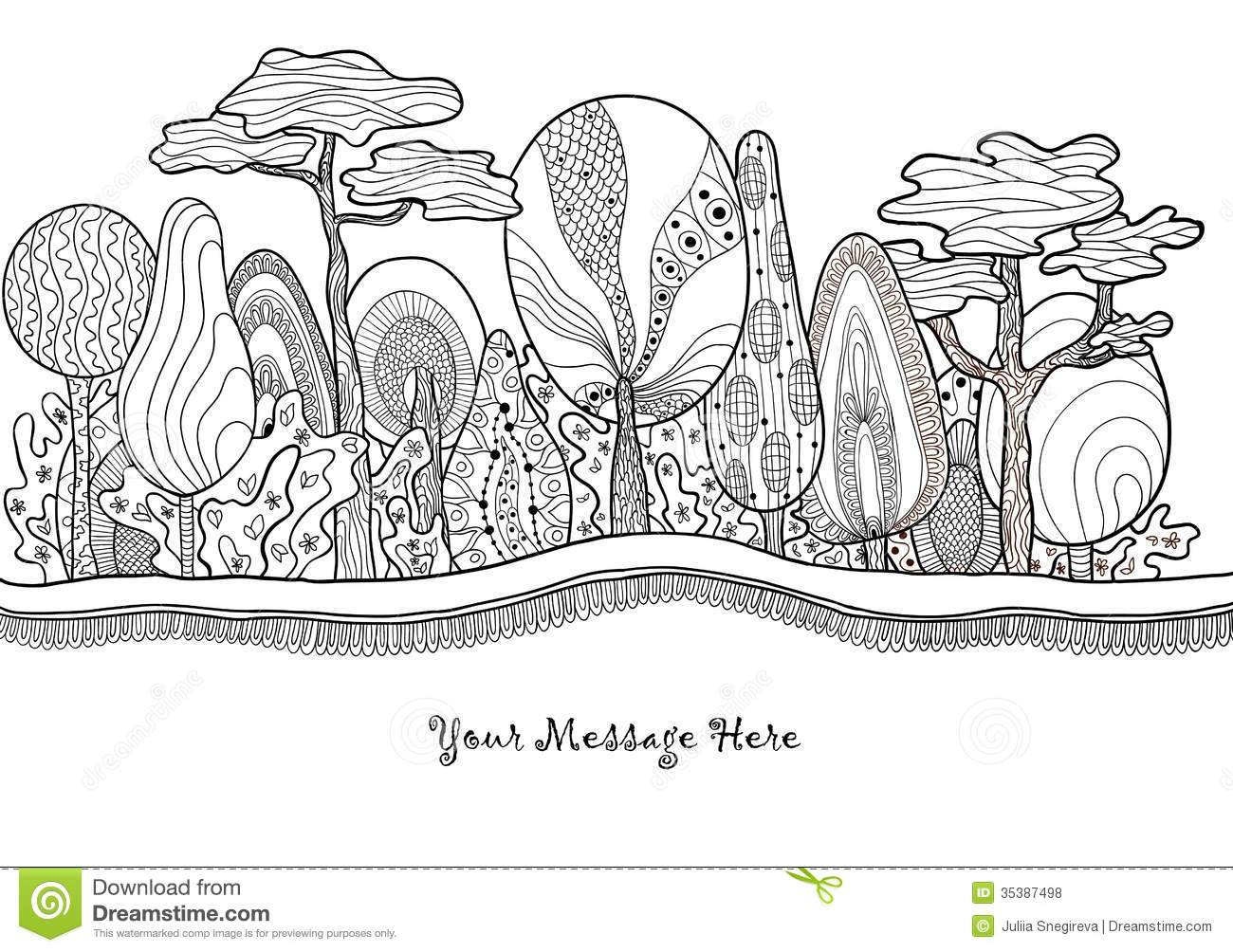 Black And White Art Deco Wallpaper Graphic Fantastic Hand Drawn Forest Stock Vector Image