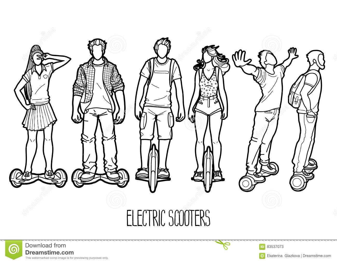 Graphic People Riding On Electric Scooters Cartoon Vector