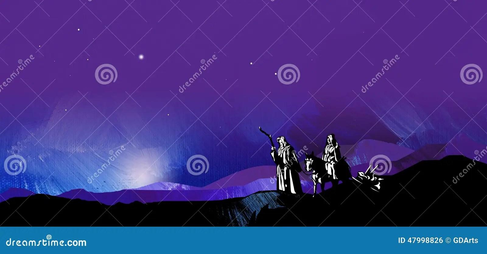 Graphic Starry Night Journey To Bethlehem Stock