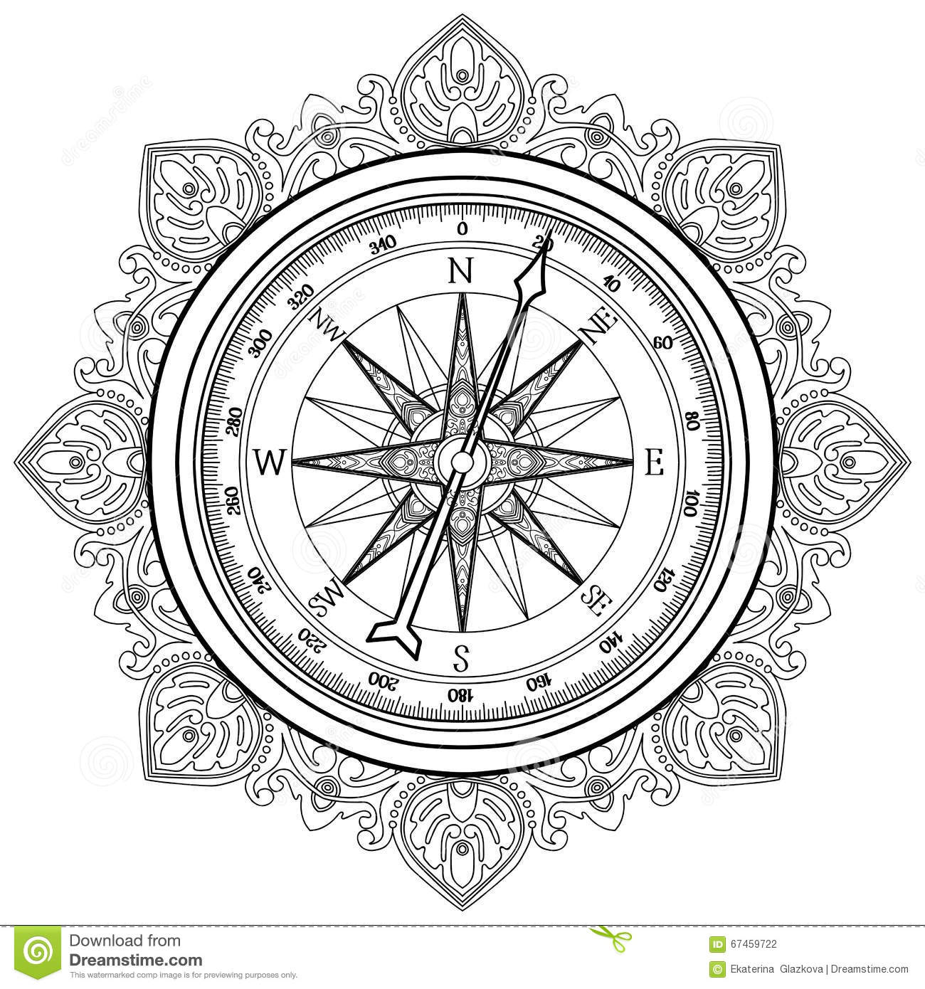 Graphic wind rose compass stock vector. Illustration of
