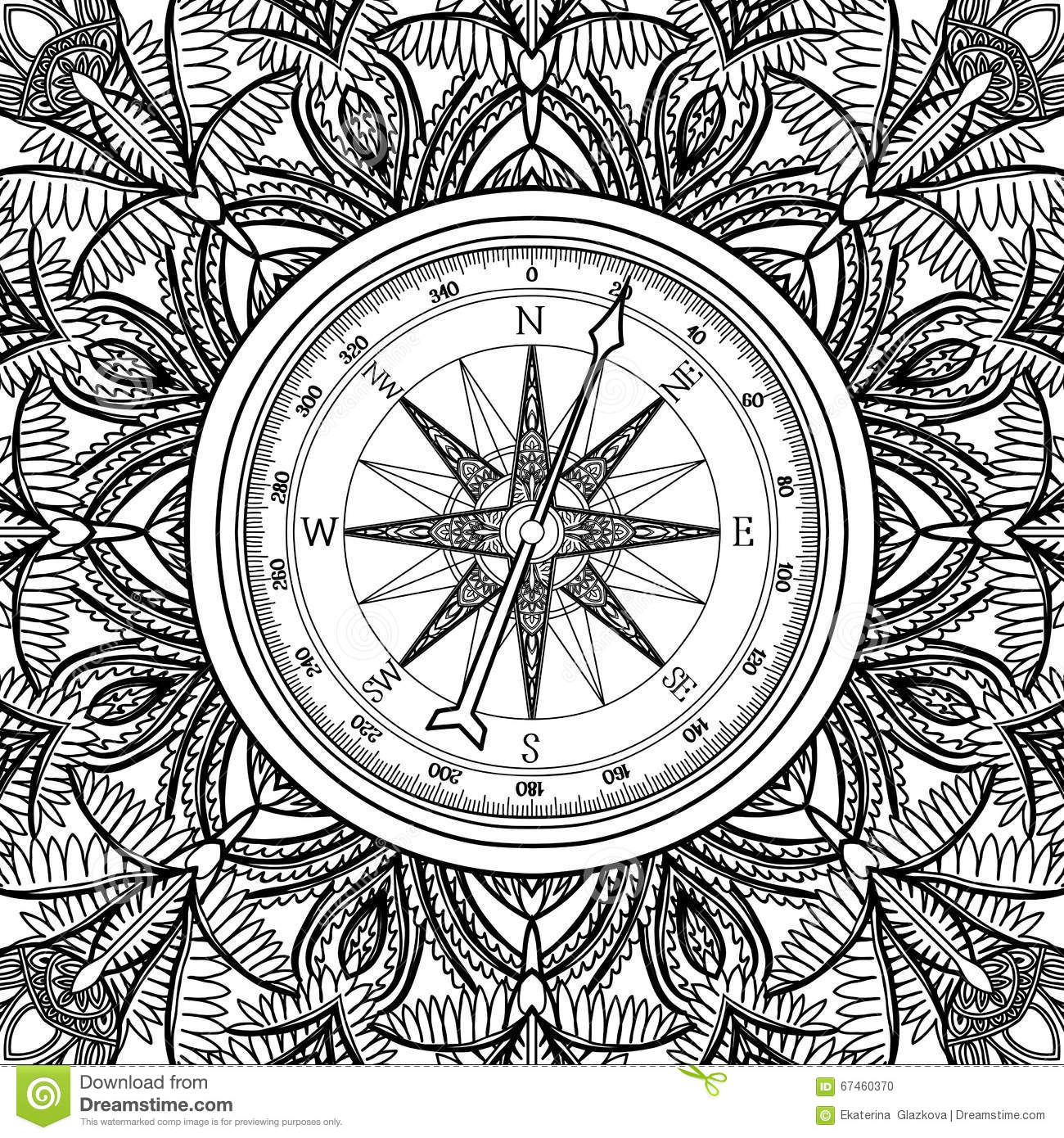 Graphic Wind Rose Compass Stock Vector Illustration Of