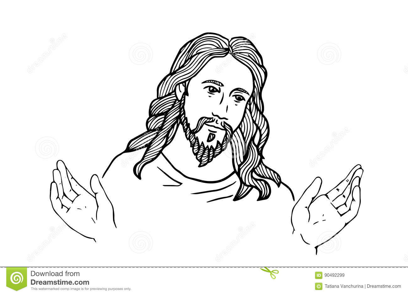 Graphical Face Of Jesus .Face Of Jesus. Open Hands Stock