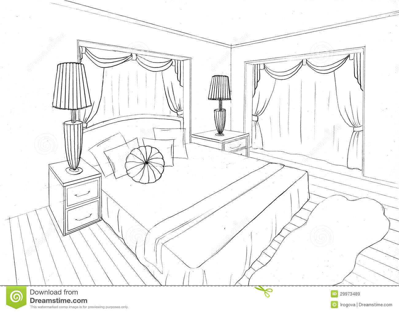 Graphical Sketch Of An Interior Apartment Stock