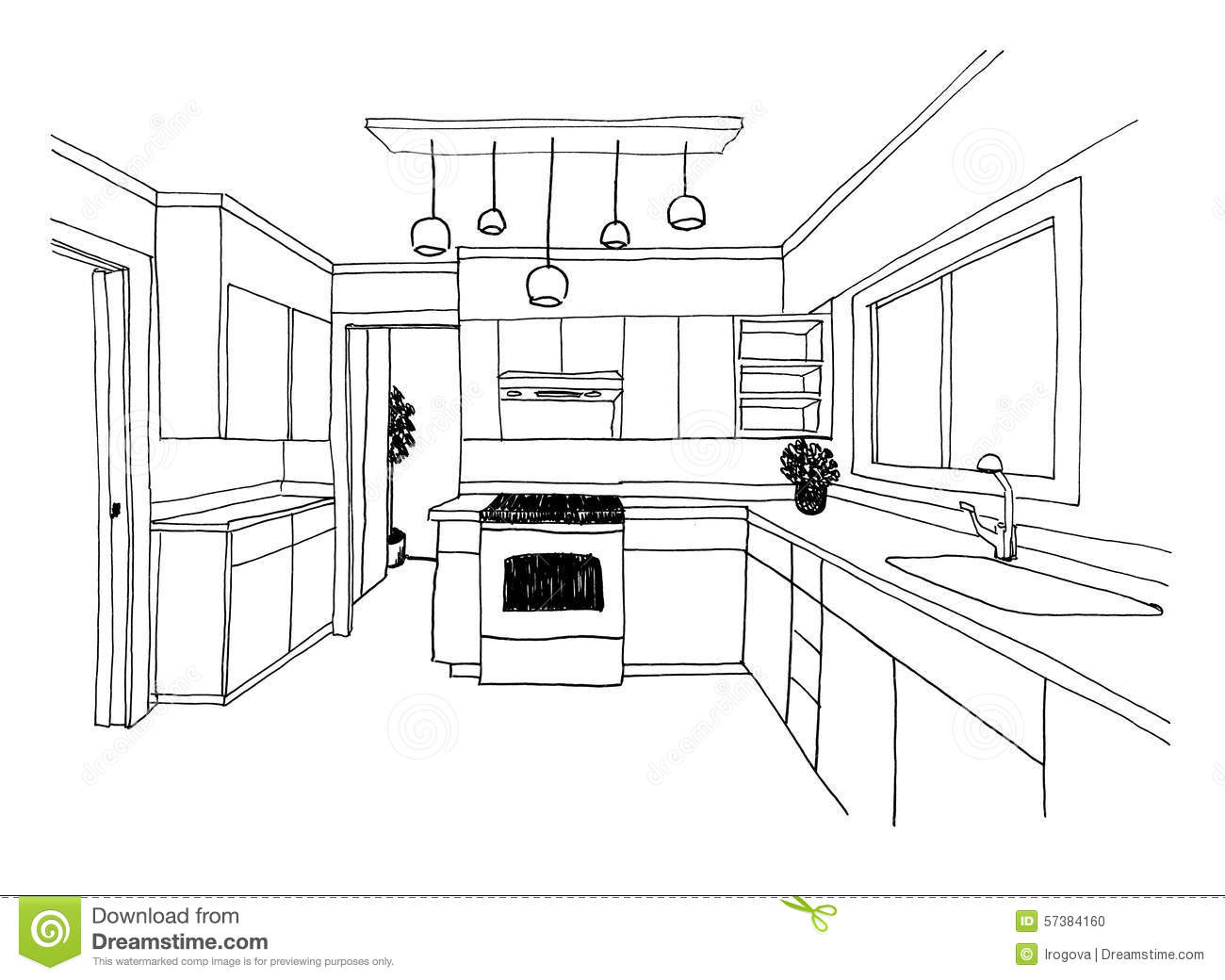 kitchen island seats 6 cabinets doors for sale graphical sketch, the stock illustration - image ...