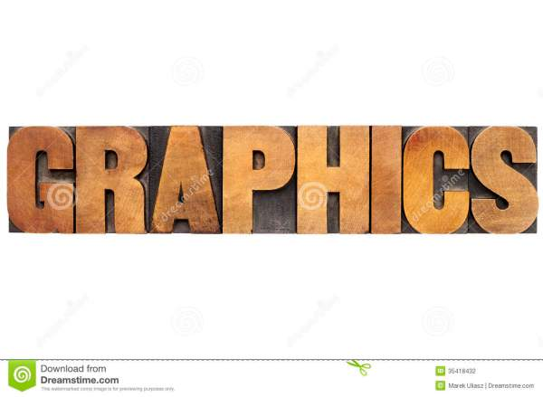 Graphics Word In Wood Type Stock Illustration