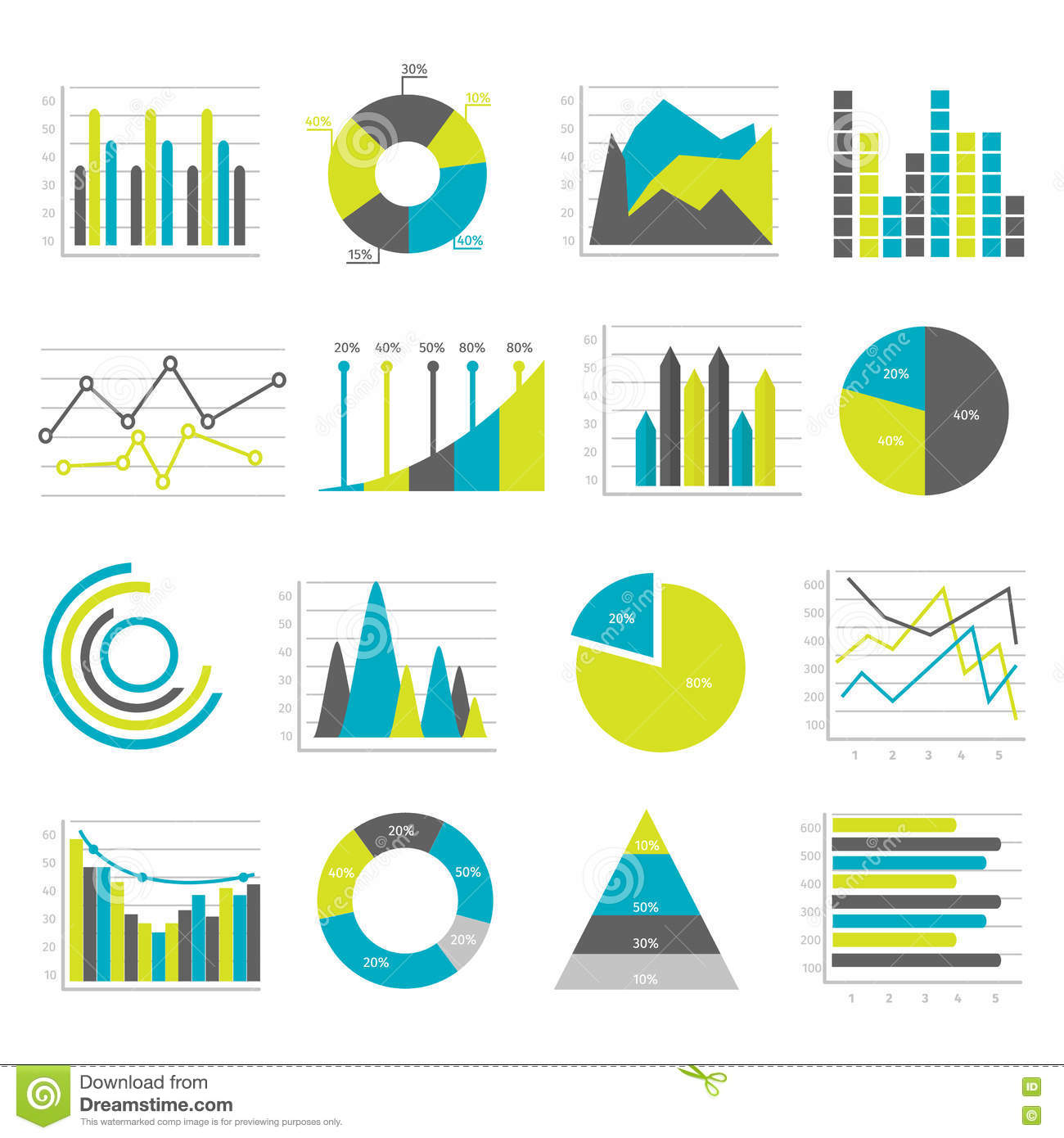 Graphs Flat Icons Set Stock Vector Illustration Of