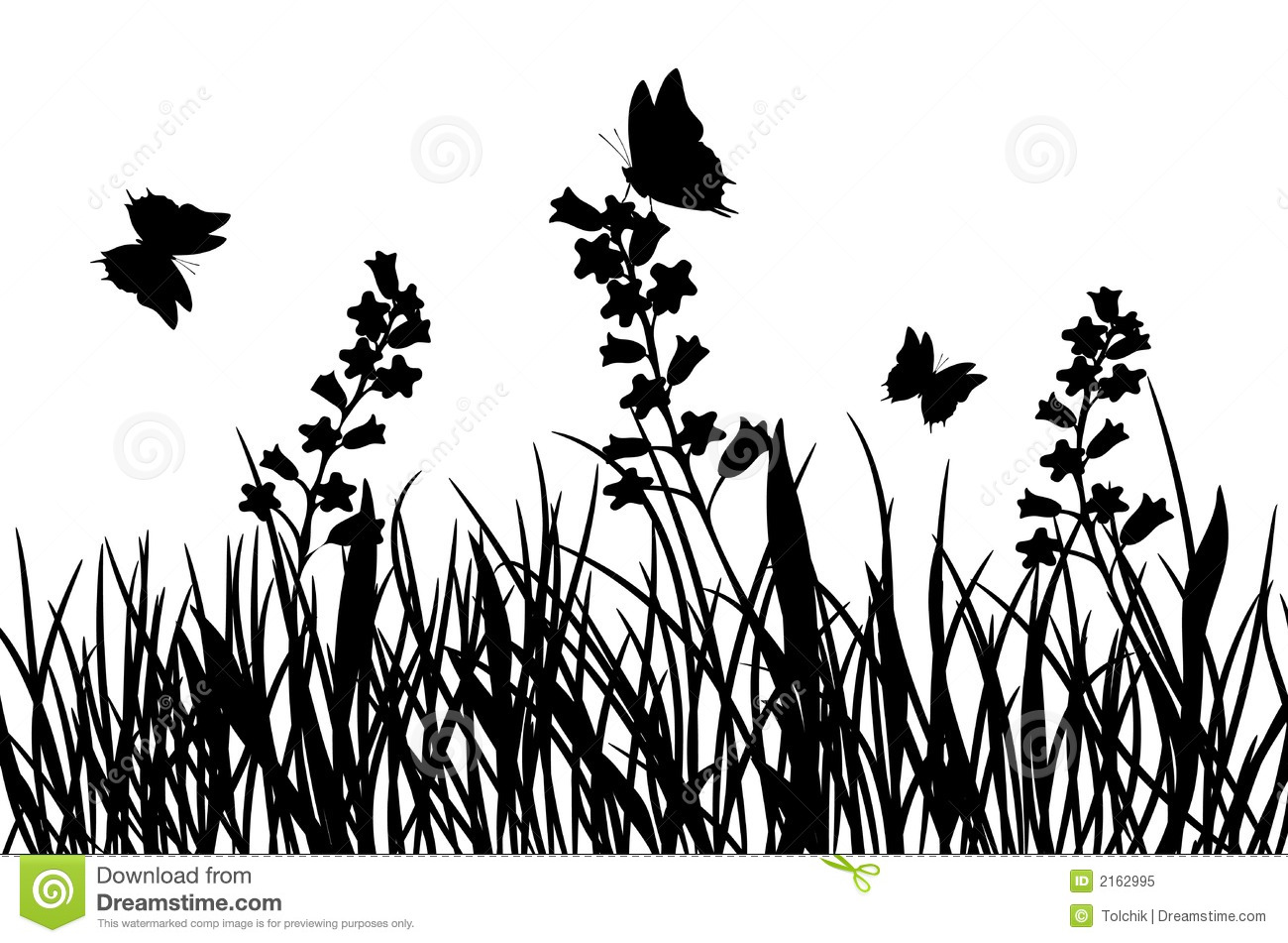 Grass And Flower Vector Stock Vector Image Of Silhouette