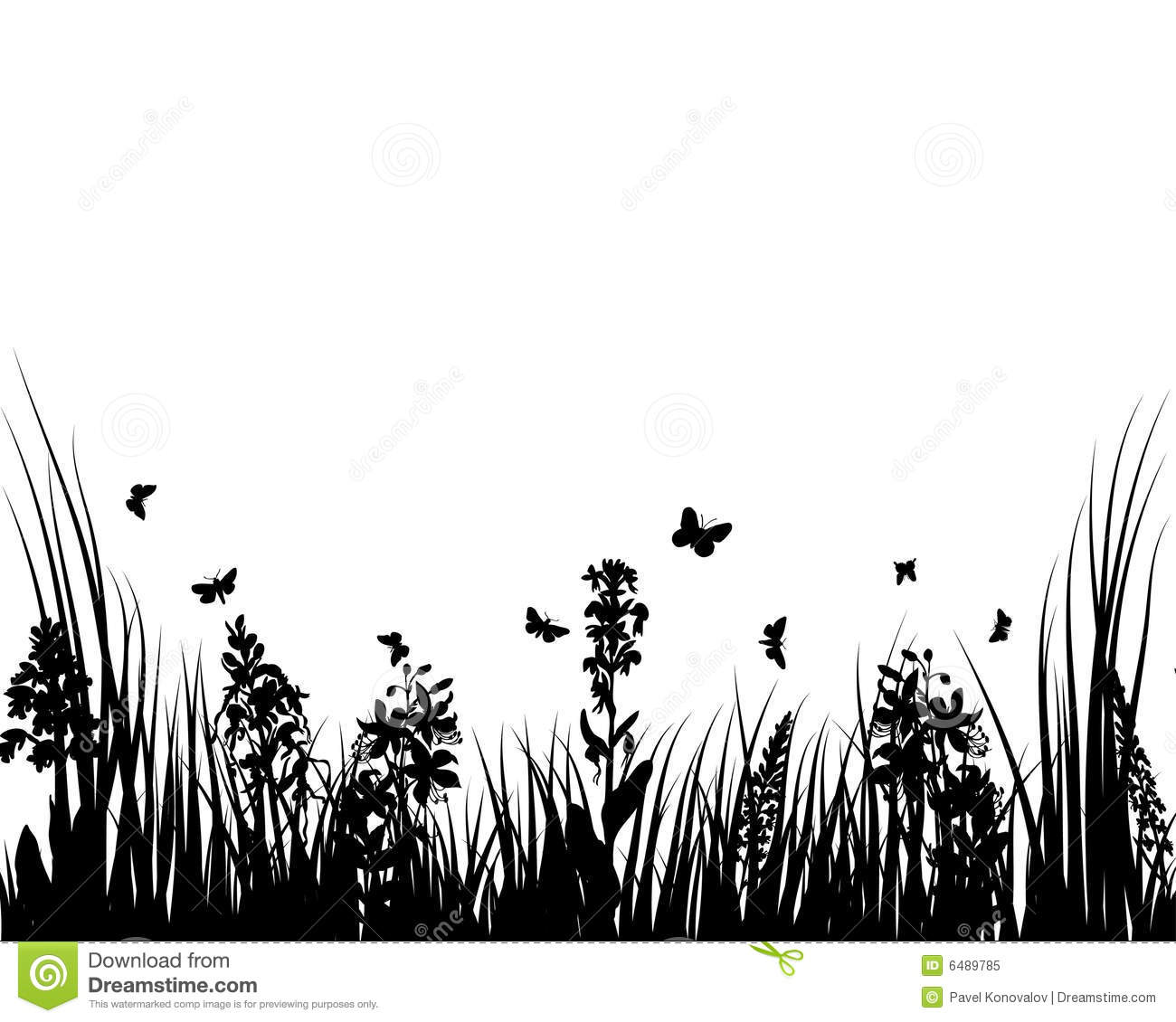 Grass And Flowers Stock Vector Image Of Drawings Drawing