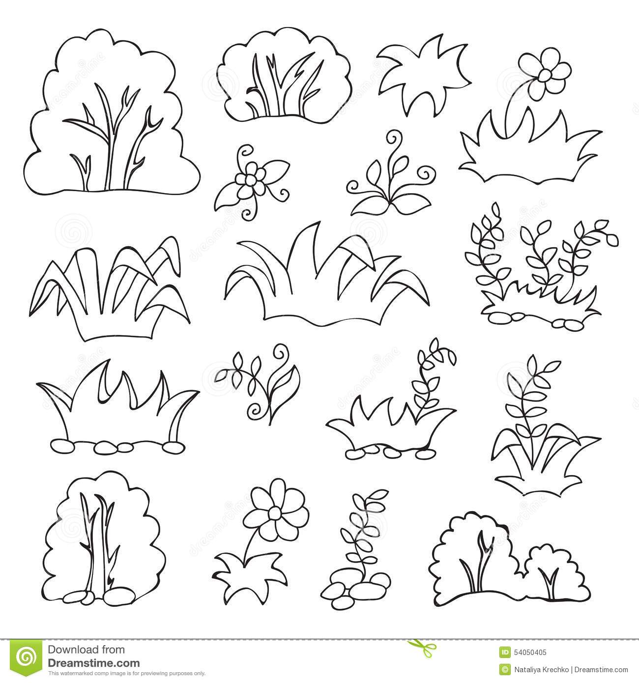 Grass And Flowers Cartoon Coloring Book For Kids Stock