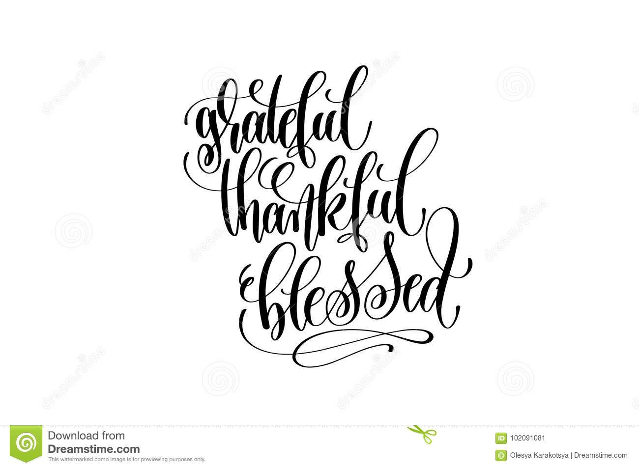 Grateful Thankful Blessed Hand Lettering Inscription To