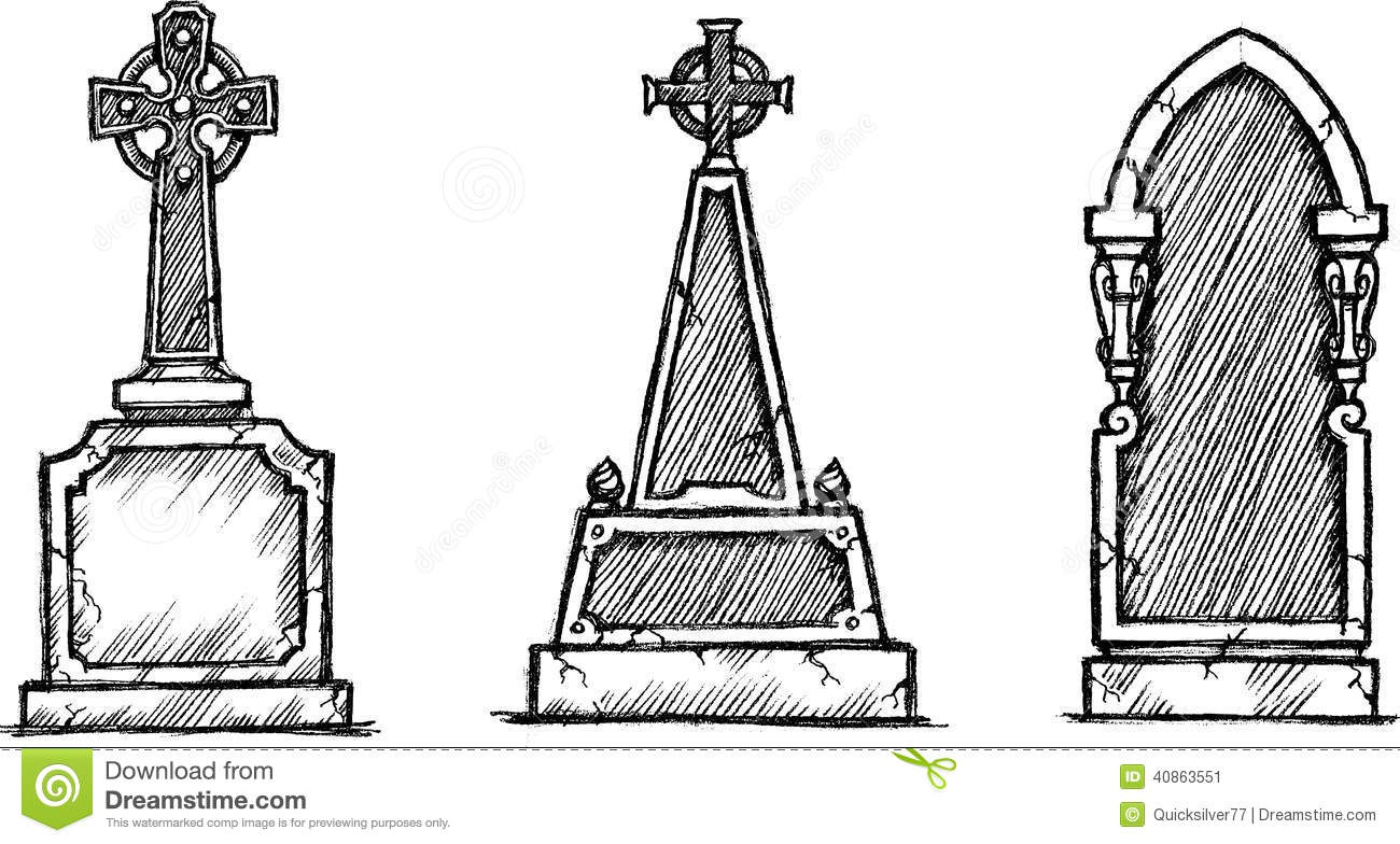 Gravestone Sketch Stock Vector Illustration Of Sketch