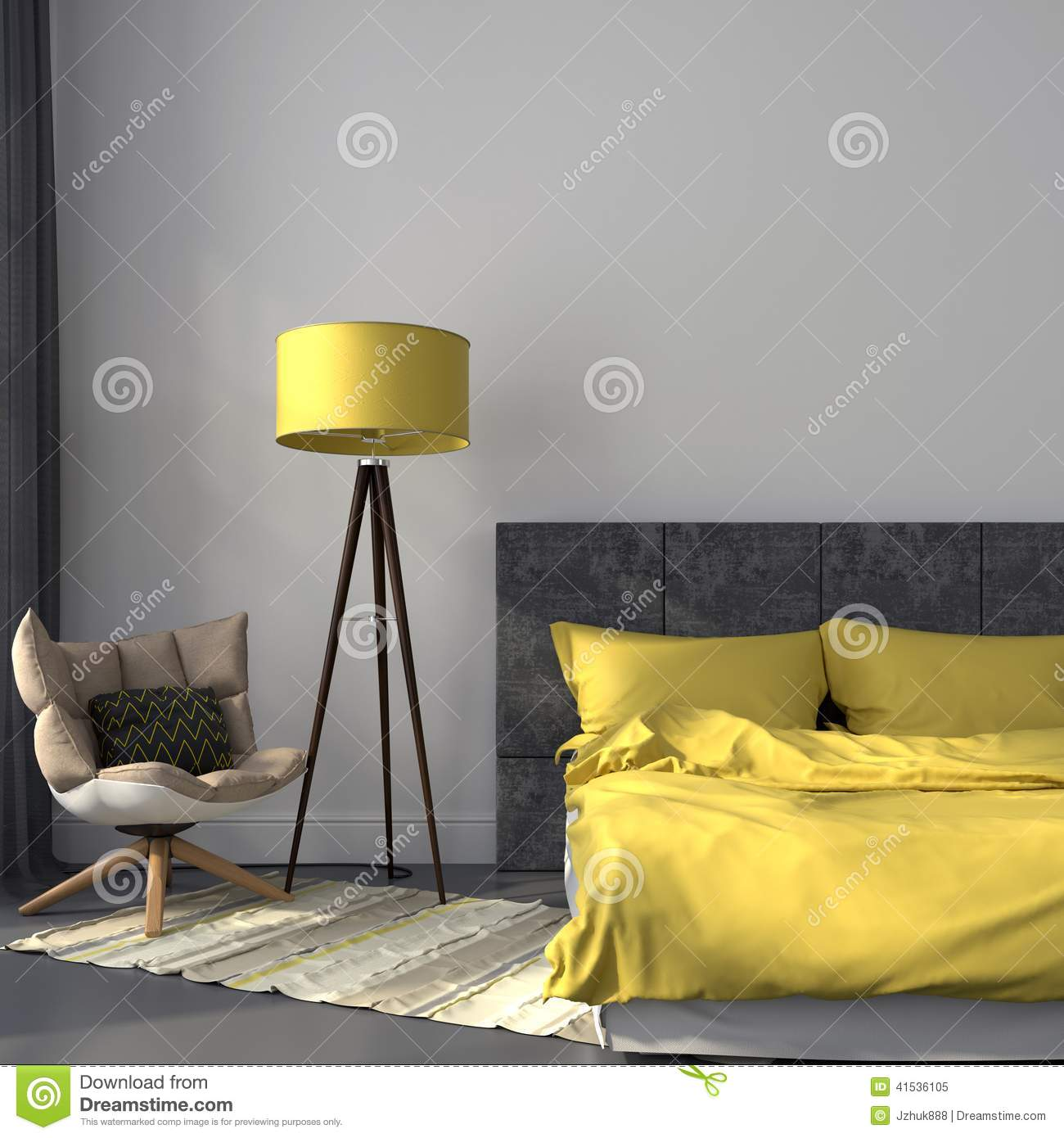 Gray Bedroom And Yellow Decor Stock Image  Image of