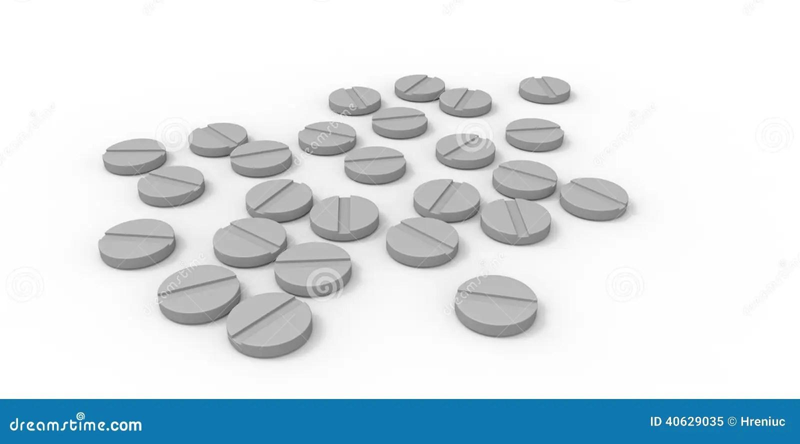 White Pill On Gray Background Cartoon Vector