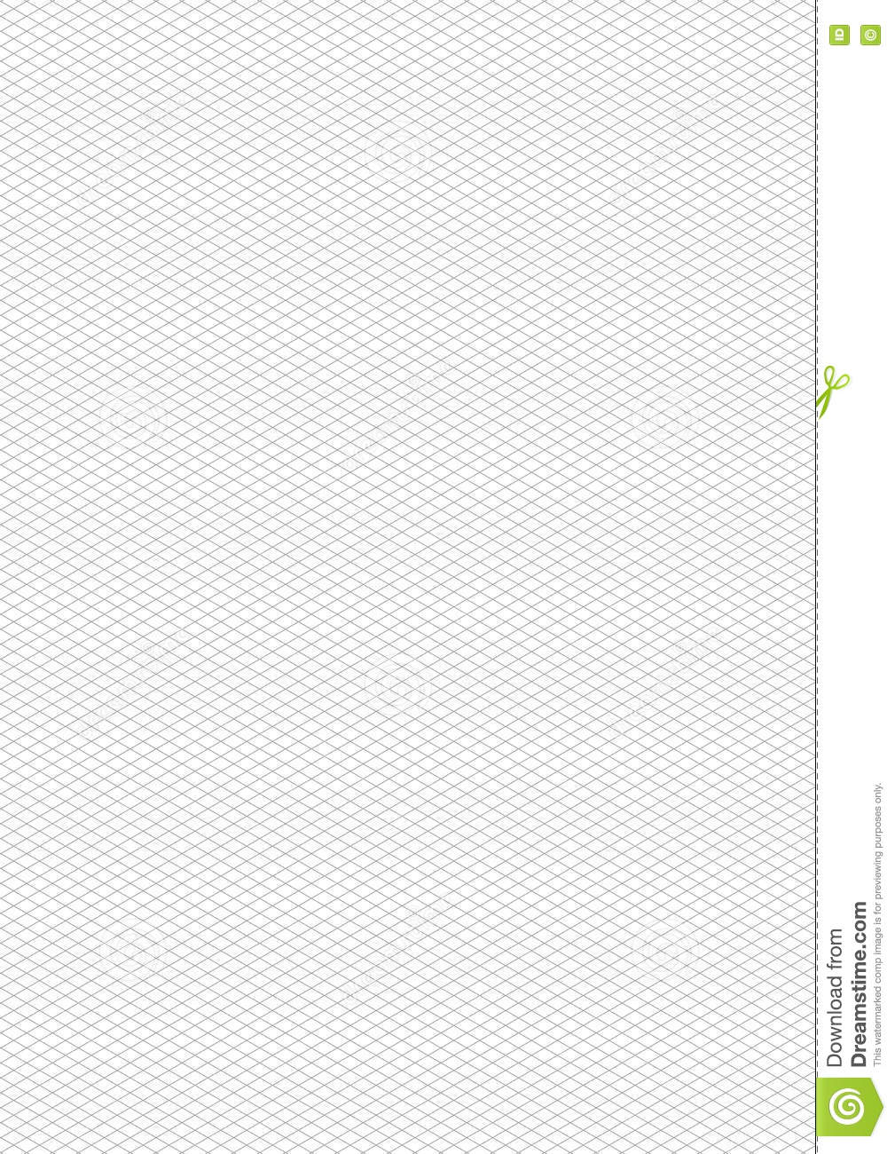 Gray Isometric Grid On White, A4 Size Background Stock