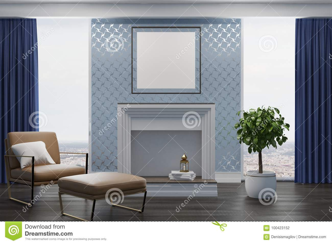 Gray Living Room Beige Armchair Fireplace Stock