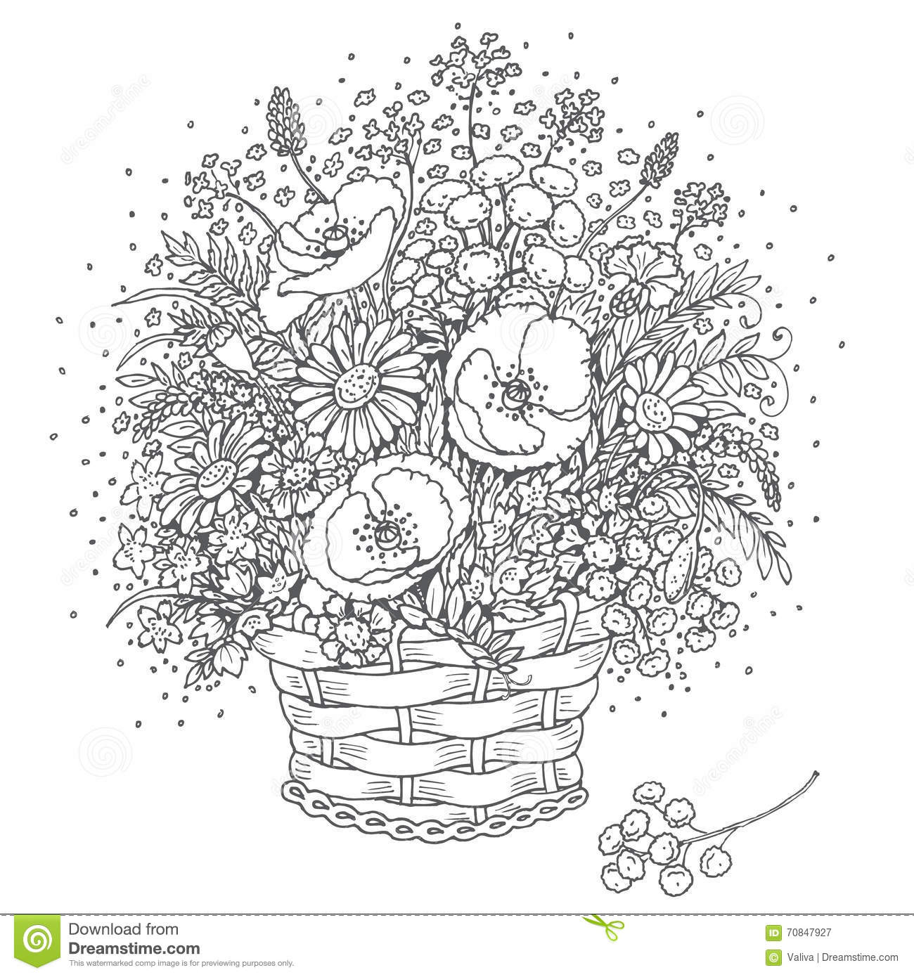 Gray Outlines Bouquet Of Wild Flowers In A Basket. Stock
