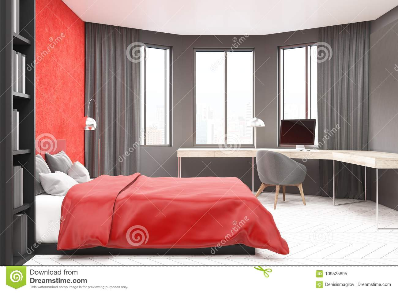 https www dreamstime com gray red bedroom computer modern bedroom home office interior red gray walls concrete floor master bed image109525695