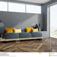Living Room Cushions Diy Open Shelves Gray Sofa Yellow Corner Stock Illustration With A Wooden Floor Loft Window And Long Comfortable On It 3d Rendering Mock Up