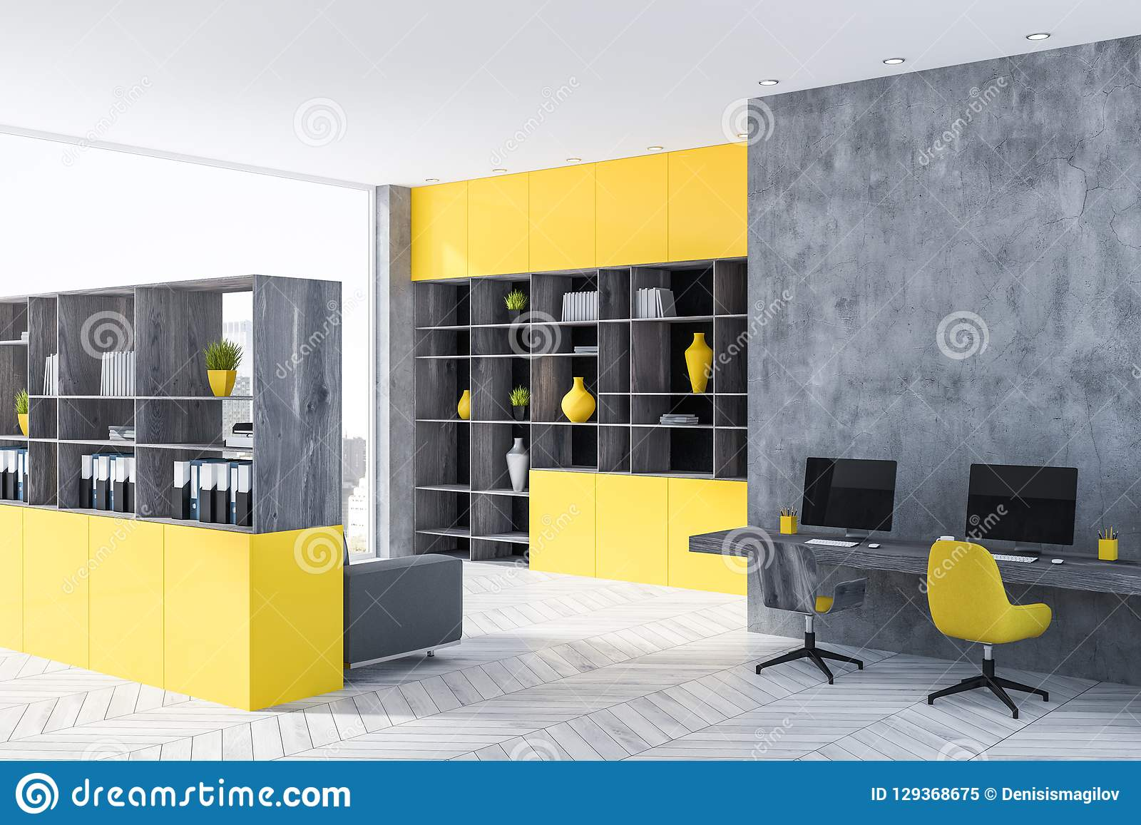 Gray And Yellow Home Office Corner Bookcase Stock