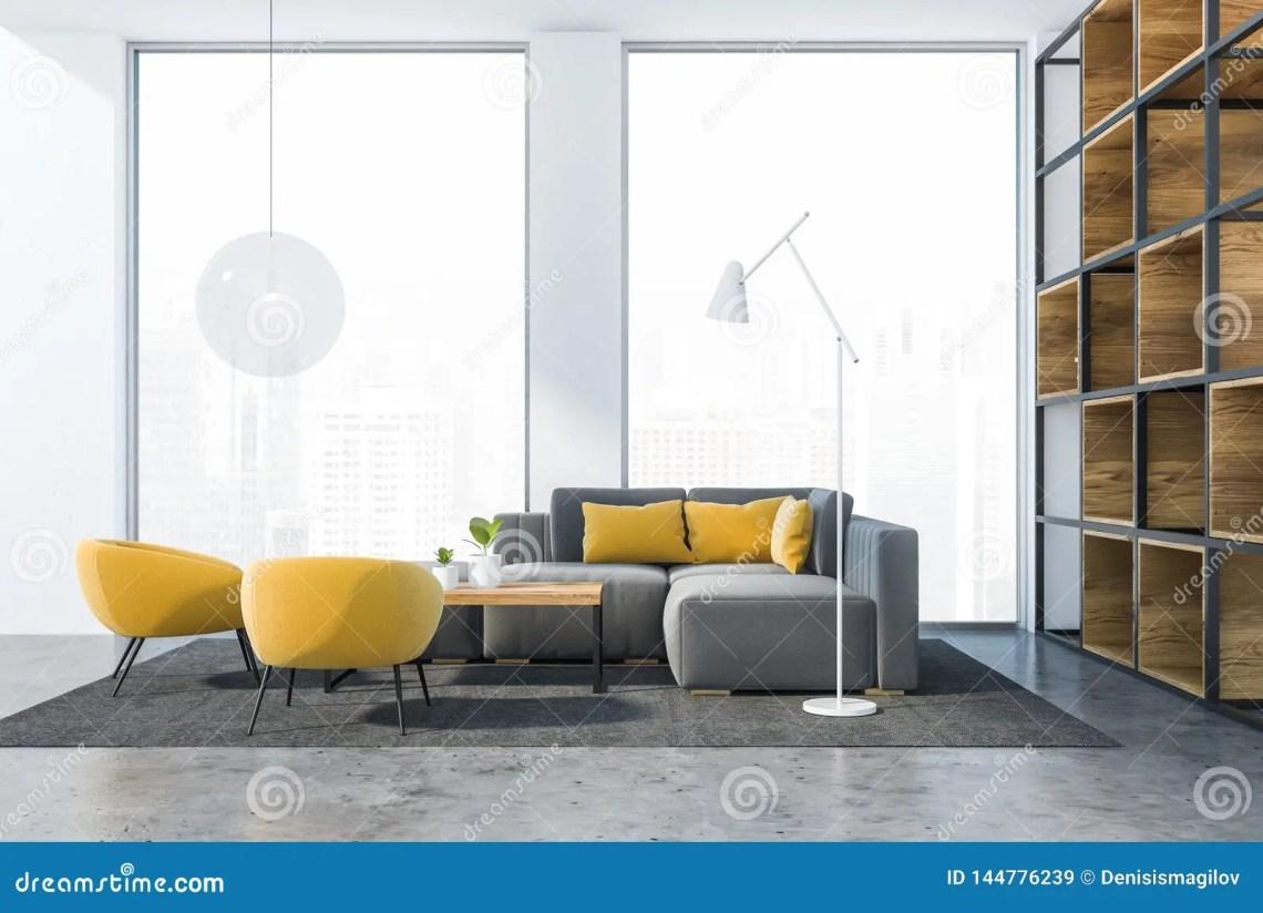 Gray And Yellow Loft Living Room Interior Stock Illustration Illustration Of Comfortable Cushions 144776239