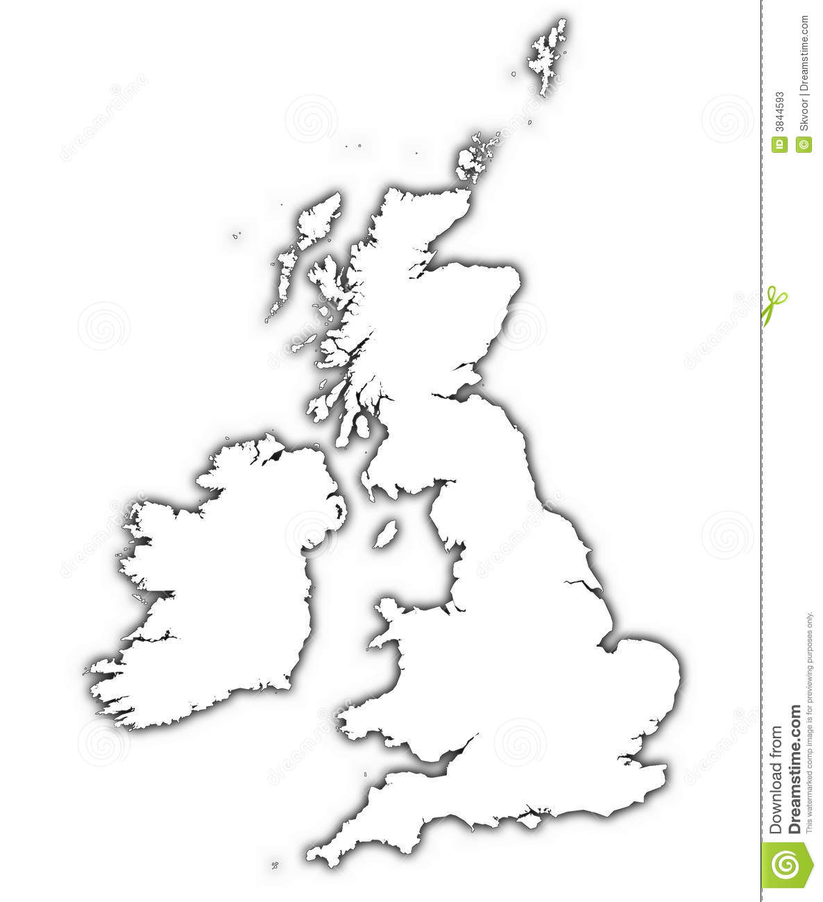 Great Britain Map With Shadow Stock Illustration