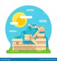 Great Wall Of China Flat Design Stock Vector ...