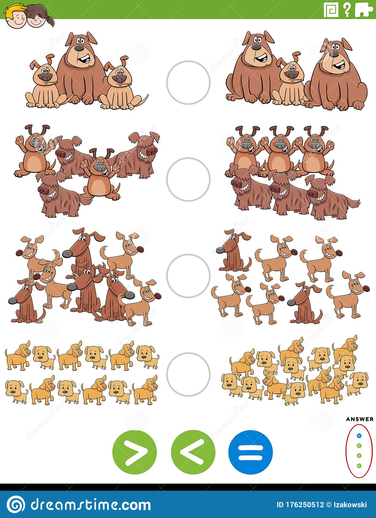 Greater Less Or Equal Educational Task With Dogs Stock