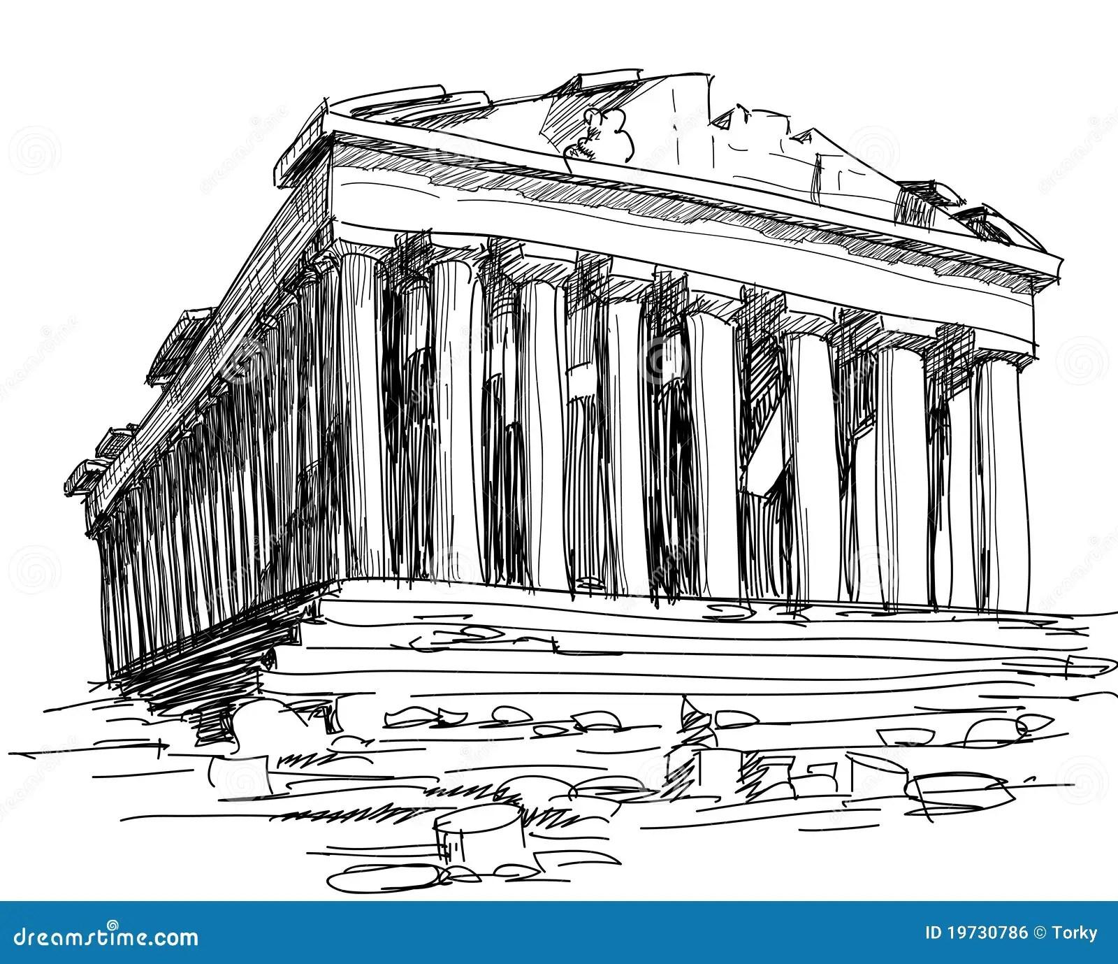 Greece Parthenon Sketch Royalty Free Stock Image