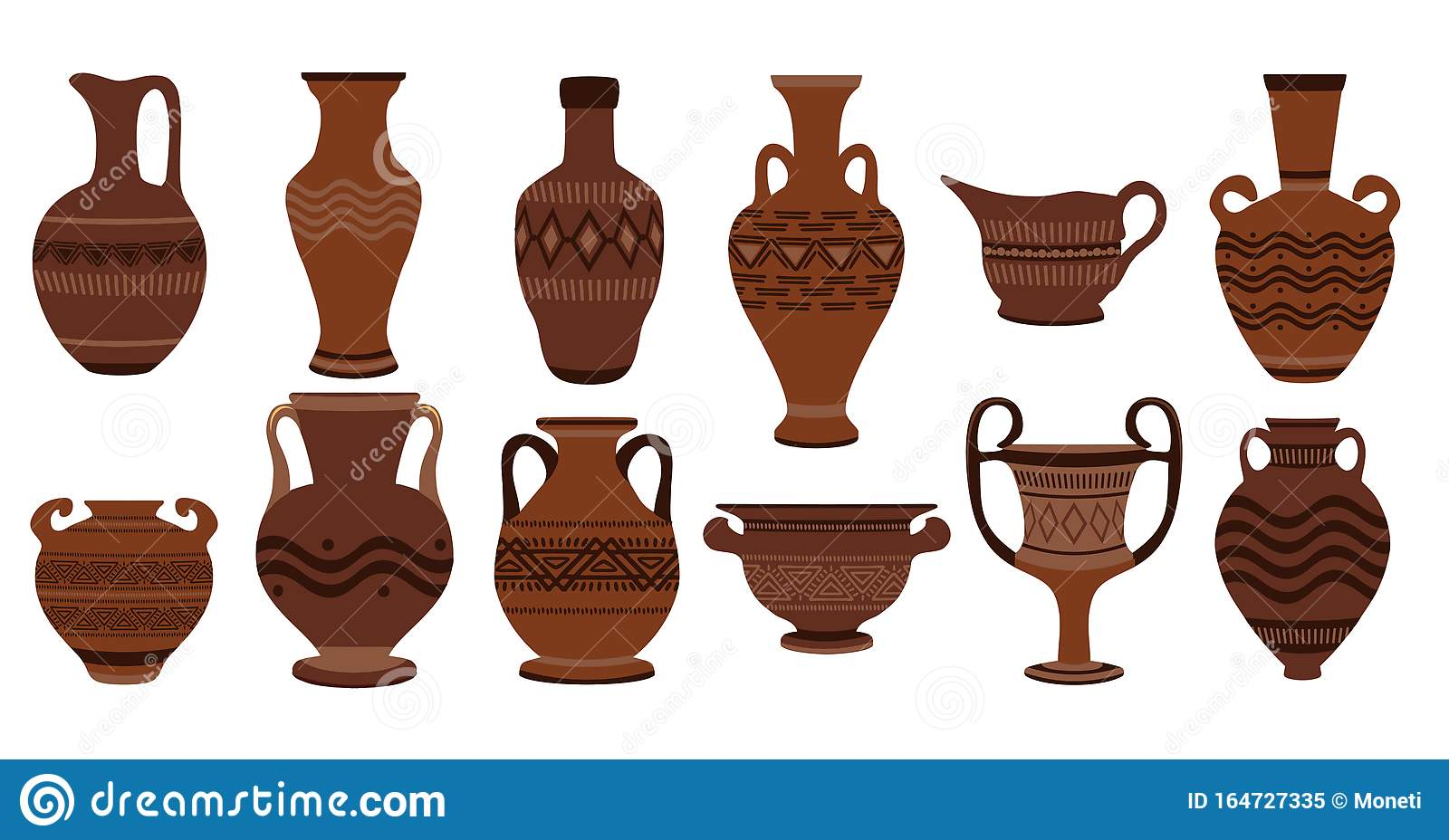 Greek Clay Pots Illustration Of Clay Roman Traditional