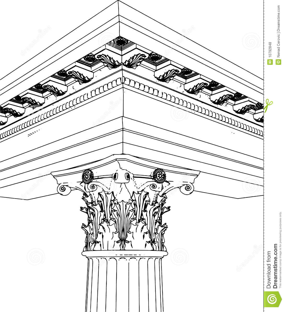 Greek Corinthian Column Stock Illustration Illustration