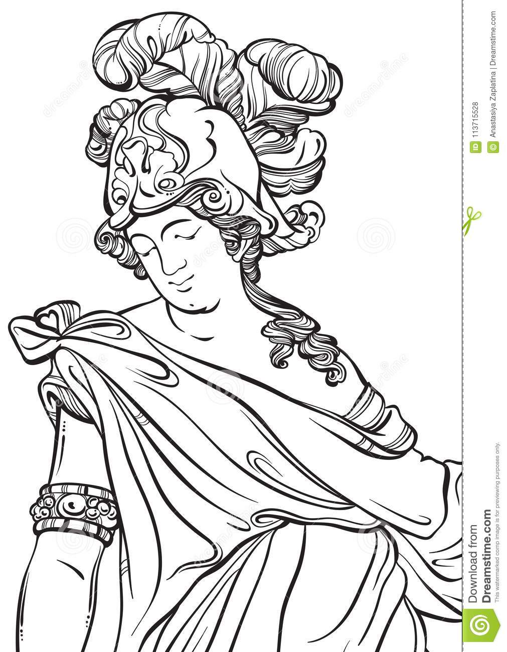 Greek God In Line Style. Great Template For Coloring Book