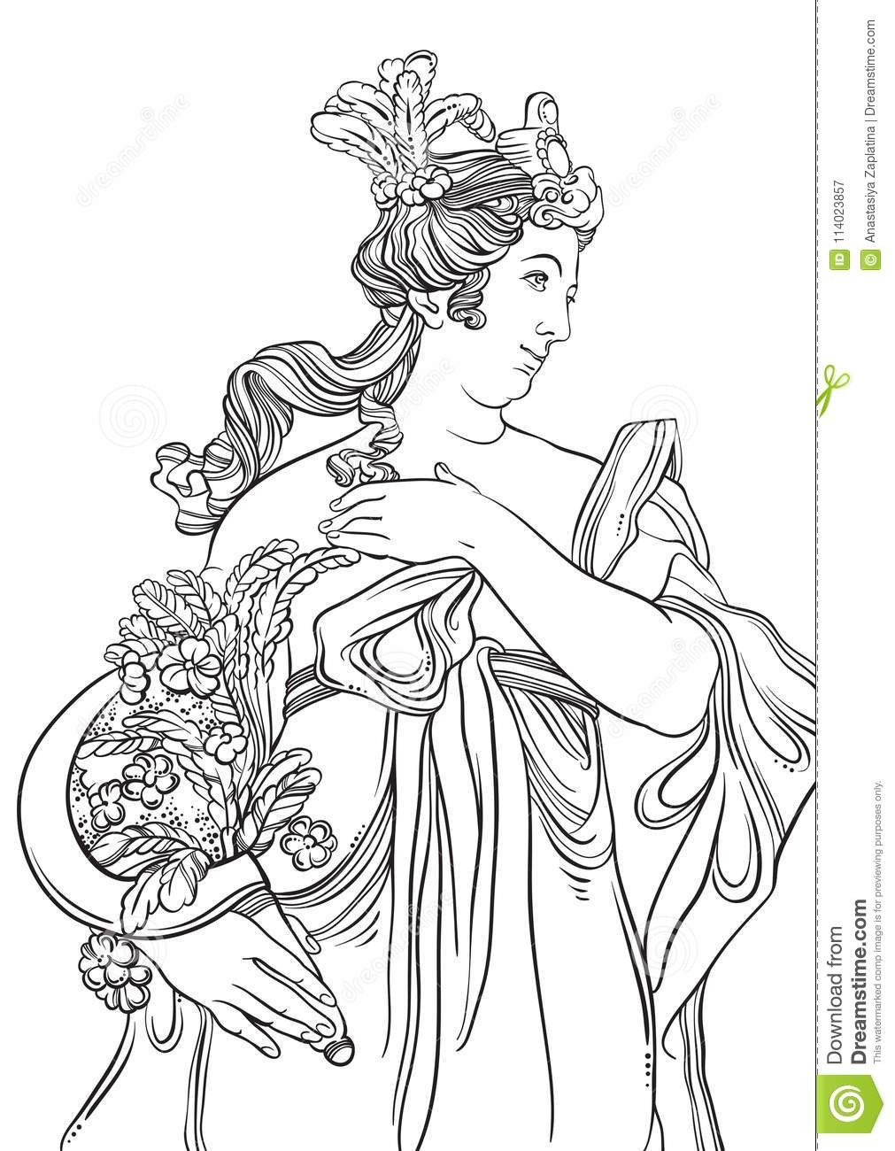 Greek Goddess In Line Style. Great Template For Coloring