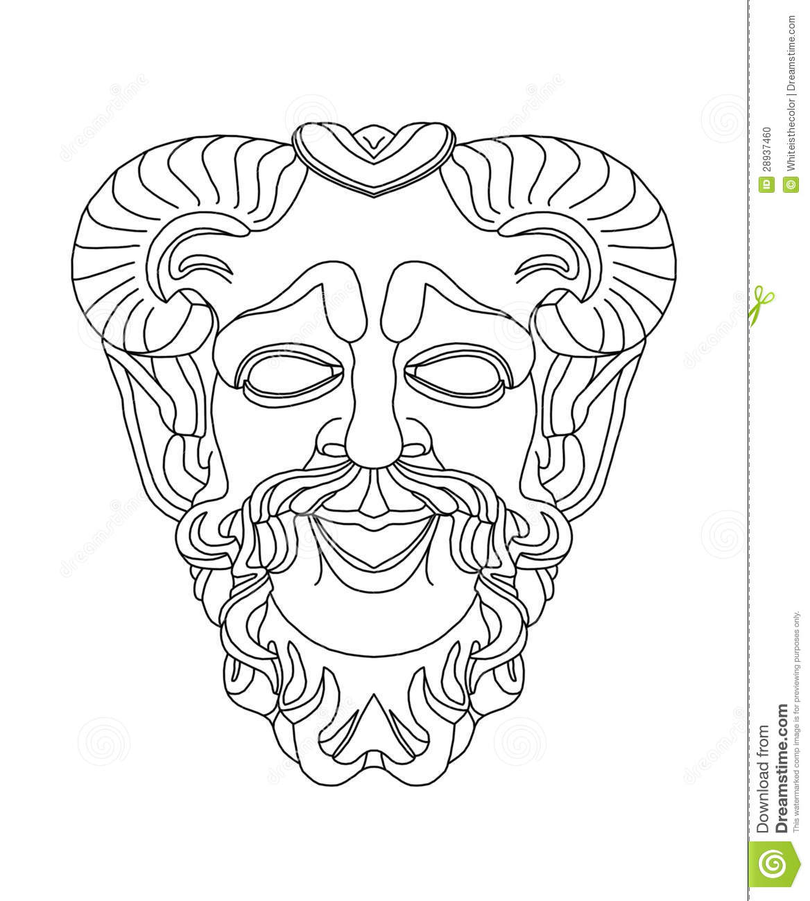 Greek Theatrical Mask Of Satyr Stock Illustration