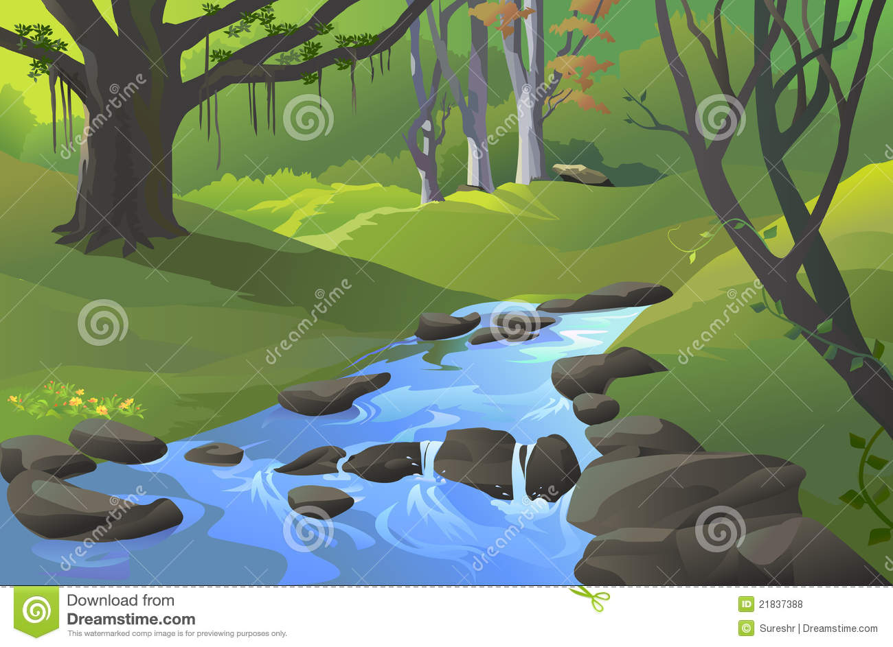 hight resolution of green amazon forest with a stream