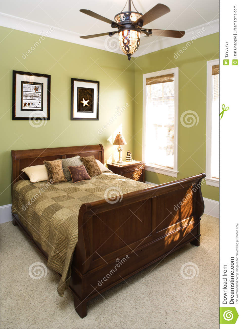 Green Bedroom With Ceiling Fan Stock Image  Image 12968787