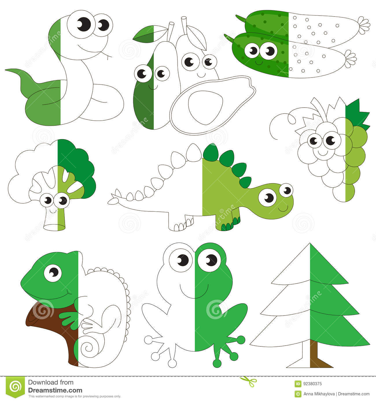 Green Color Animals Fruits And Vegetables The Big Kid