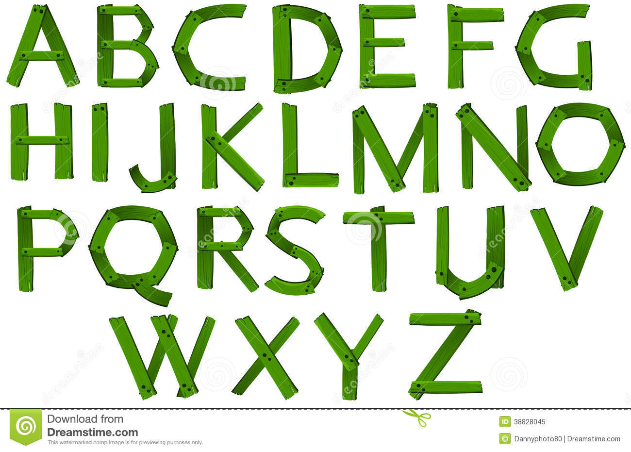green colored letters of