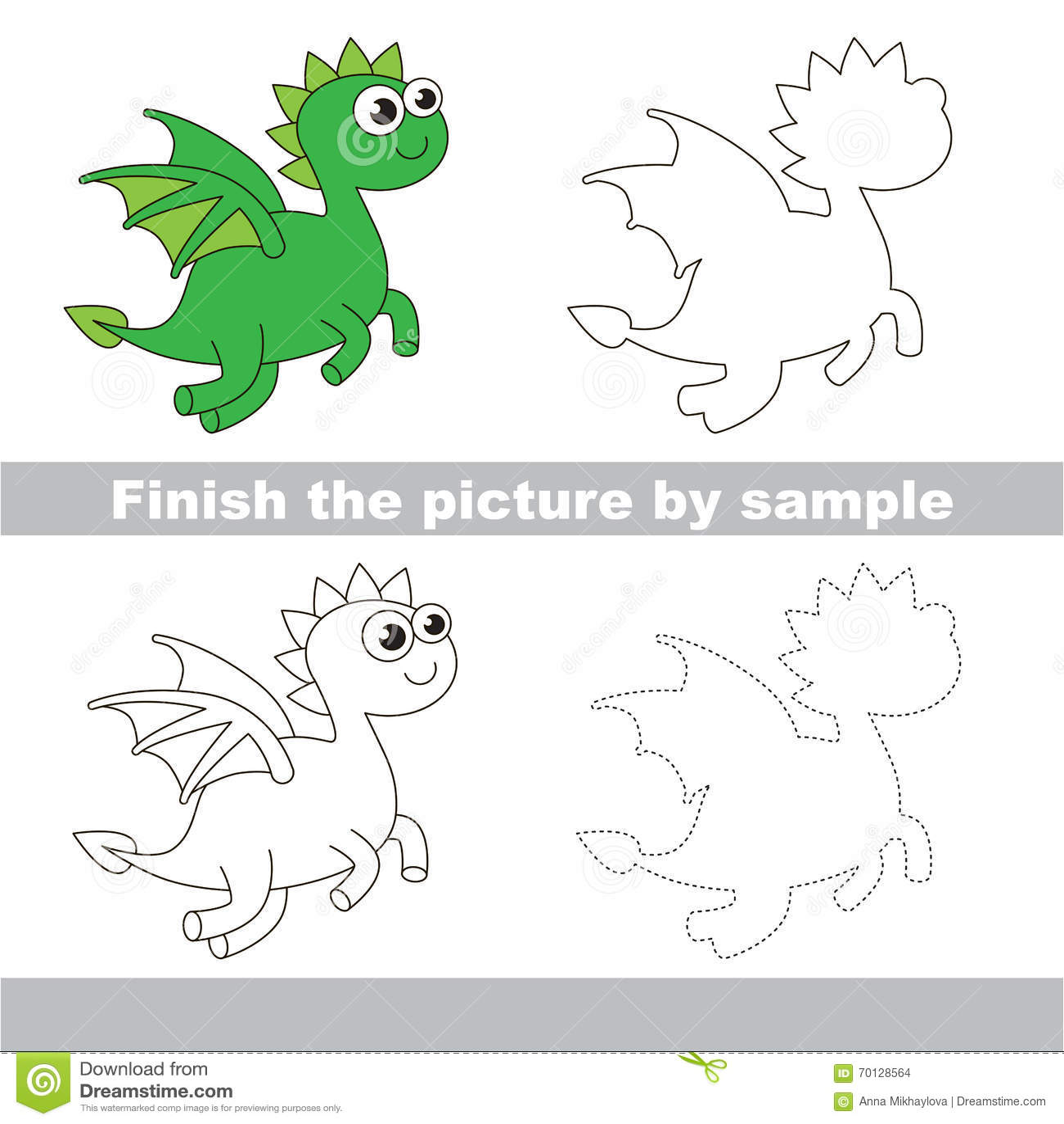 Green Dragon Drawing Worksheet Stock Vector