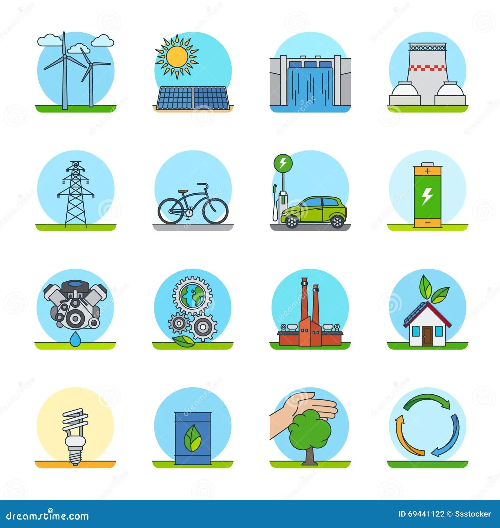 Eco Energy Color Line Icons Cartoon Vector
