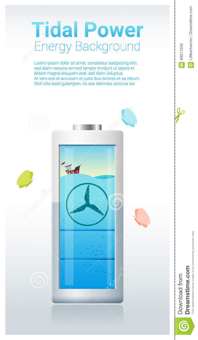 hight resolution of green energy concept background with tidal energy charging battery