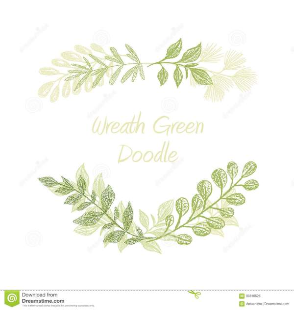 Green Floral Doodle Branch Border Vector Stock Vector