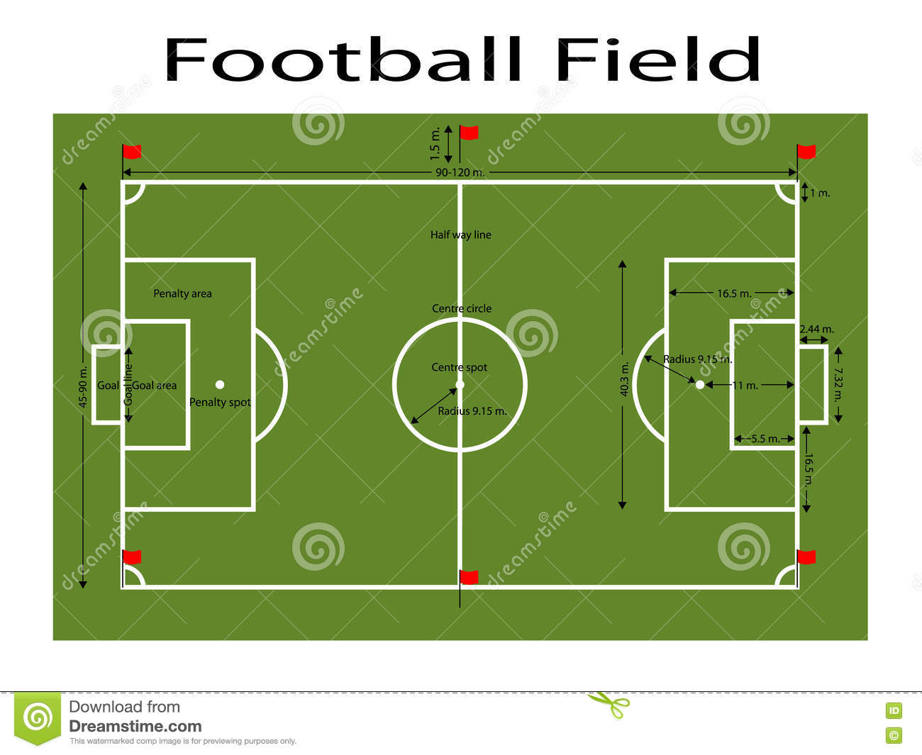 diagram of football ground with measurements aem fic 8 wiring field editorial image cartoondealer