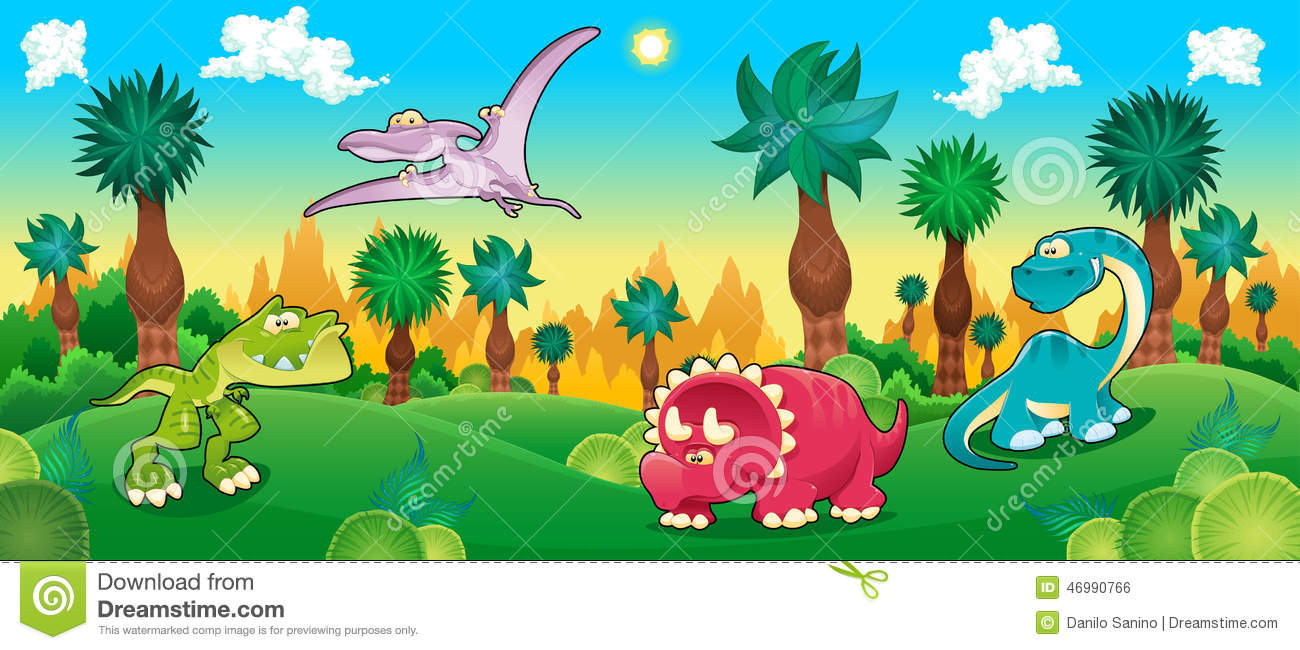 Cute Dino Wallpaper Green Forest With Dinosaurs Stock Vector Image 46990766