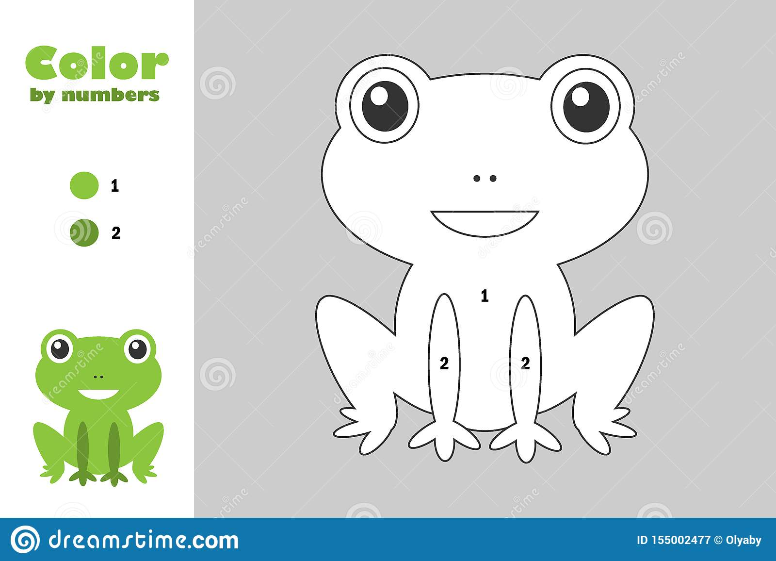 Green Frog In Cartoon Style Color By Number Education