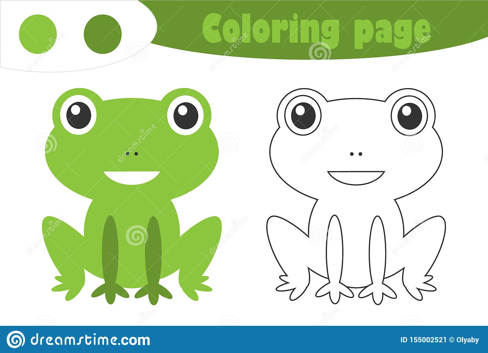 Green Frog In Cartoon Style Coloring Page Spring
