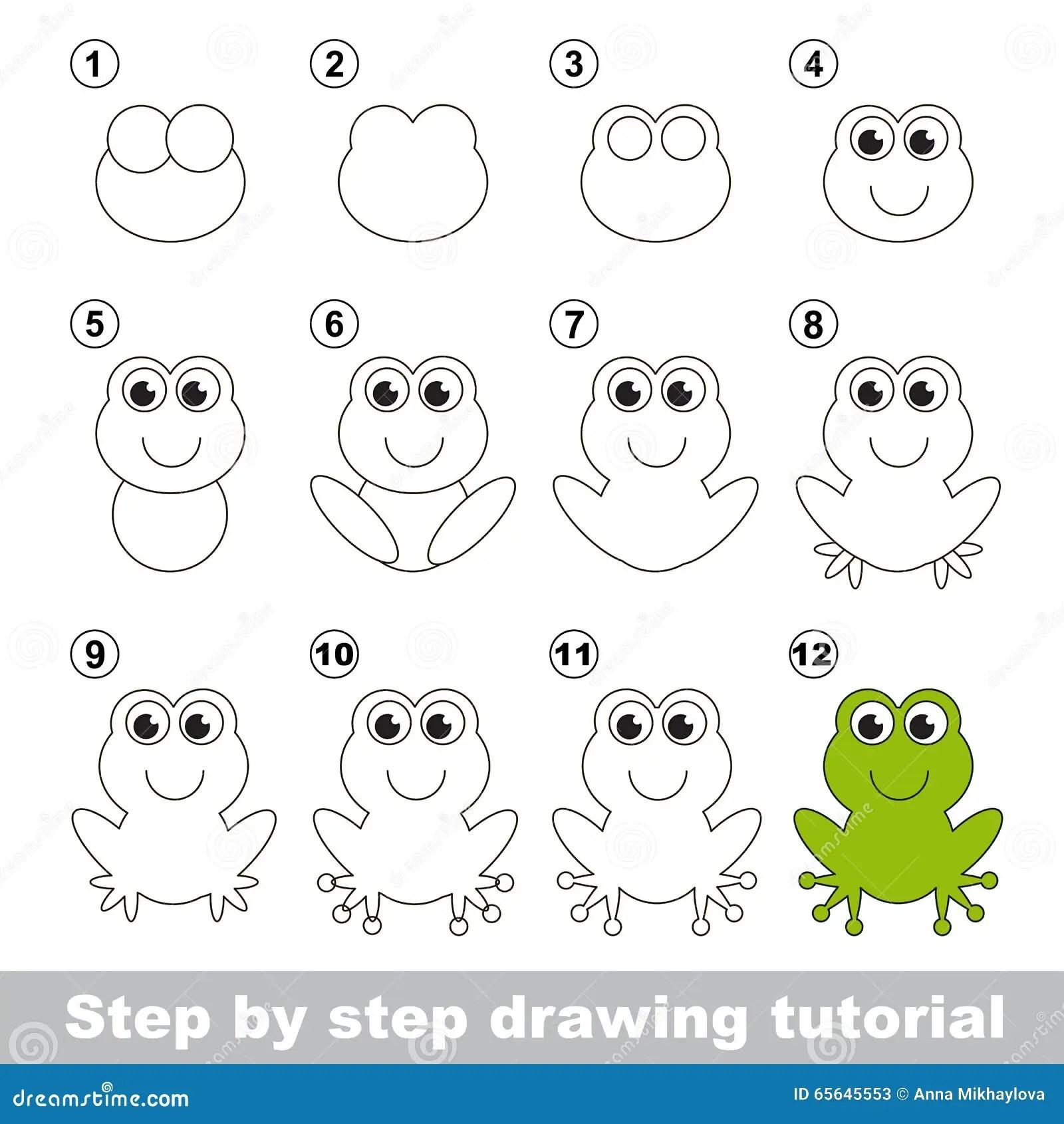 Green Frog Drawing Tutorial Stock Vector