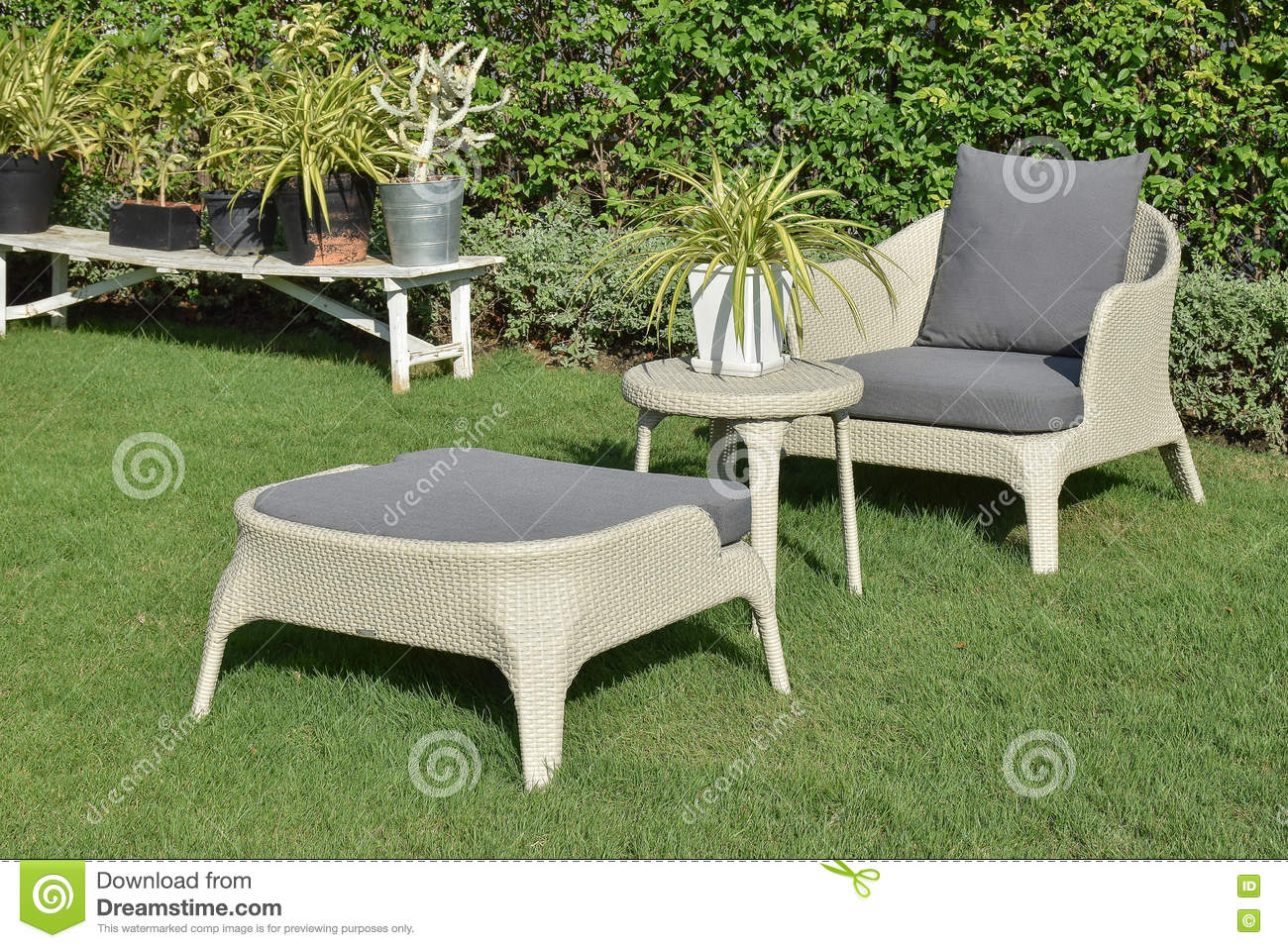 Green Patio Chairs Green Garden With An Outdoor Furniture Lounge Group Stock