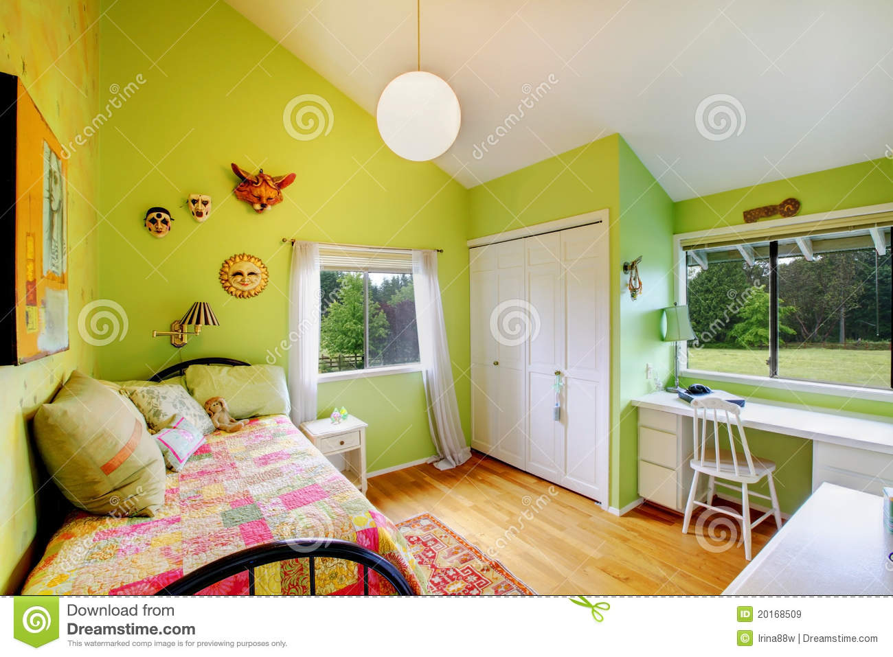 Green Kids Girls Bedroomwith White Furniture Stock