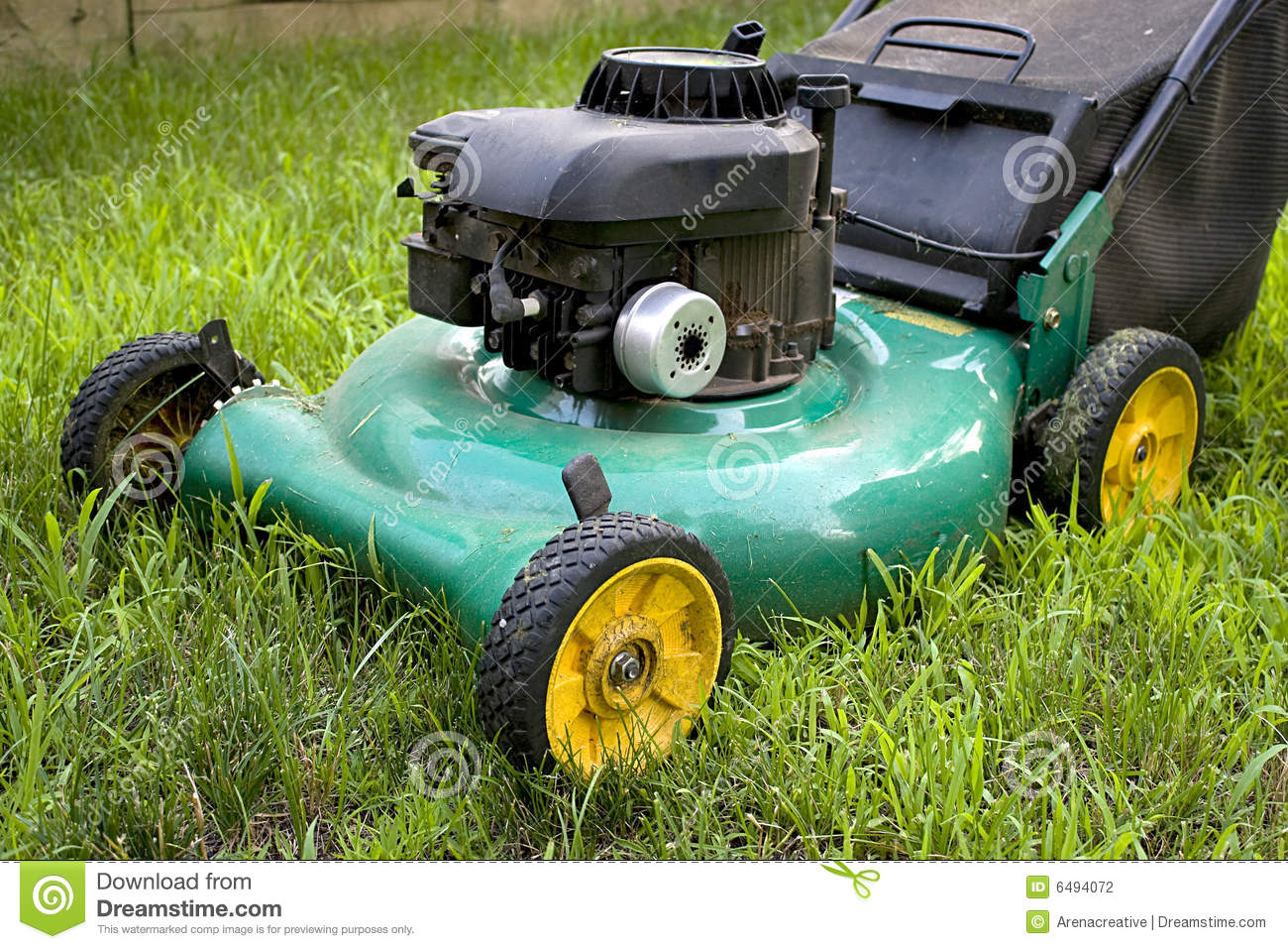 green lawn mower stock