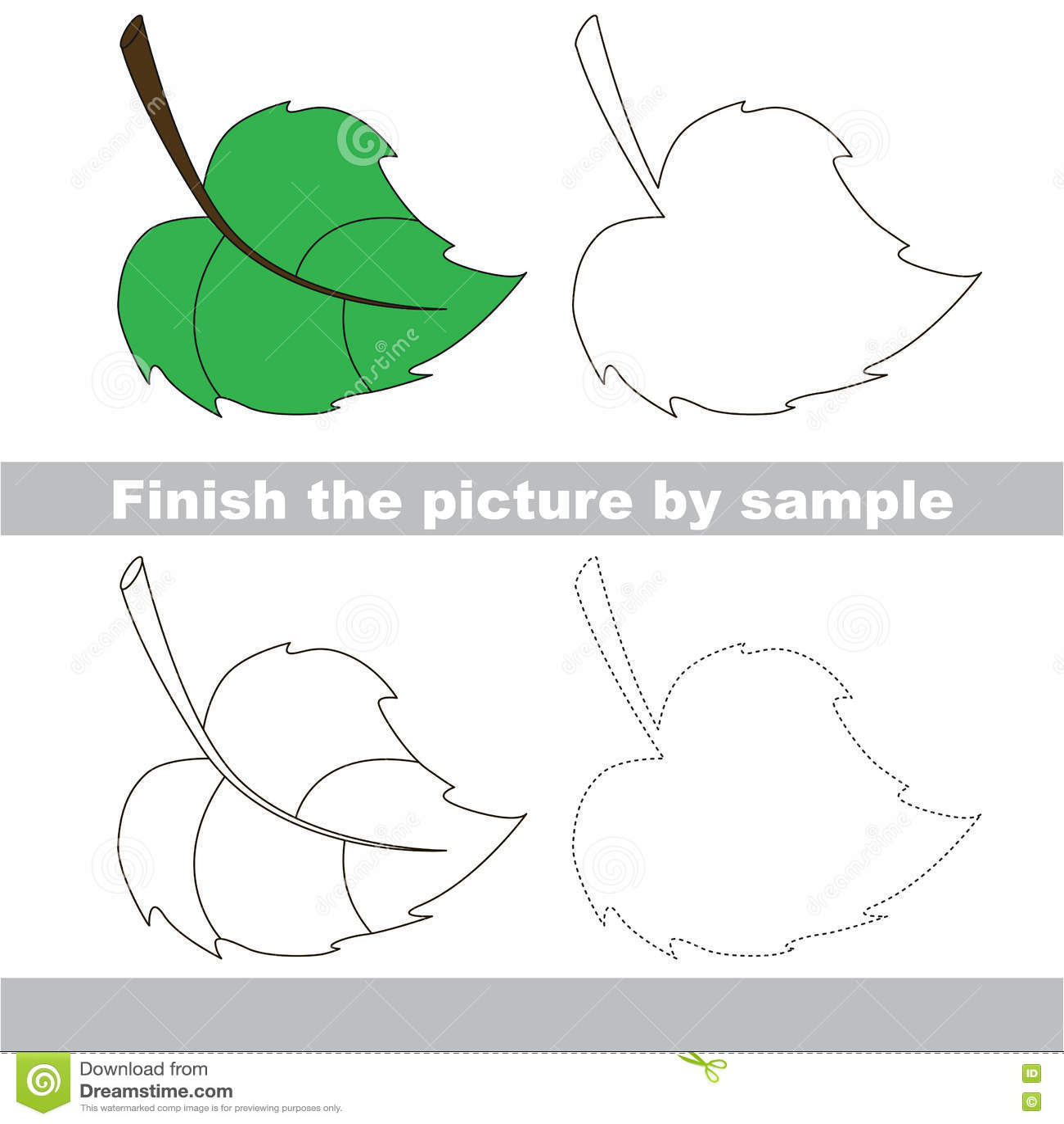 Green Leaf Drawing Worksheet Stock Vector